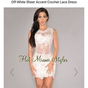 Off-White Sheer Accent Crochet Lace Dress